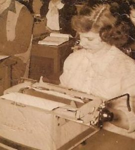 Clara Ann Norfleet b1933, in school typing class 1951