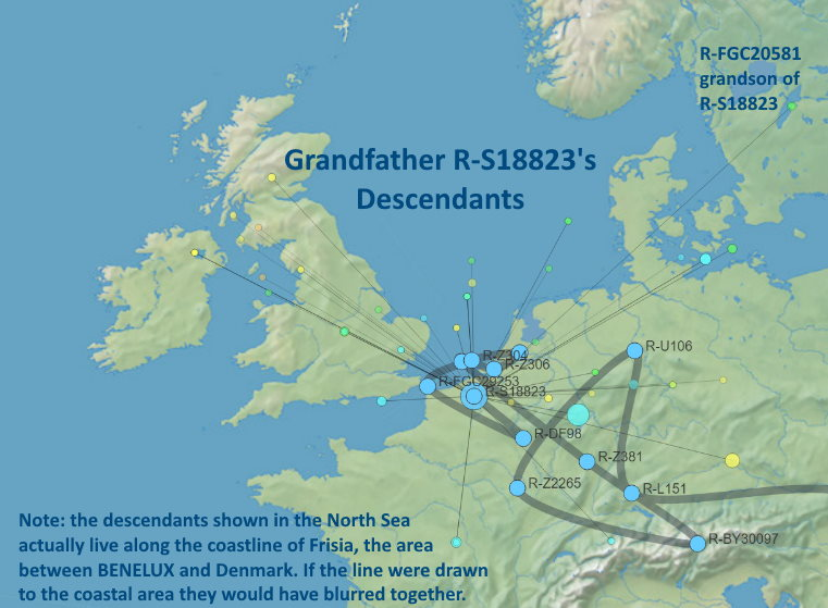 MAP - SNP R-S18823 and grandson SNP R-FGC20581