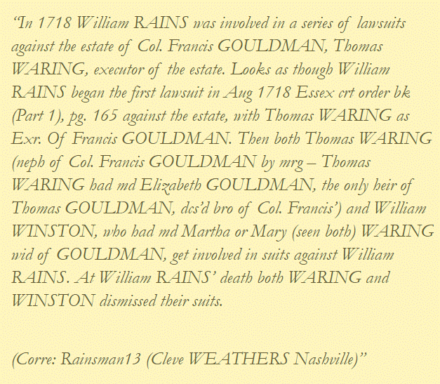 William Rains vs Francis Gouldman Estate 1718
