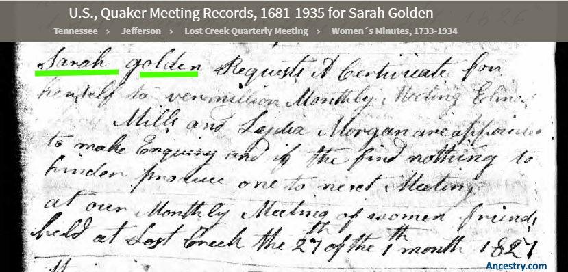 Sarah Golden Jefferson County Tennessee 1827 Quaker