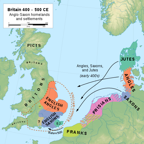 Map of Anglo Saxons pre-English Isles