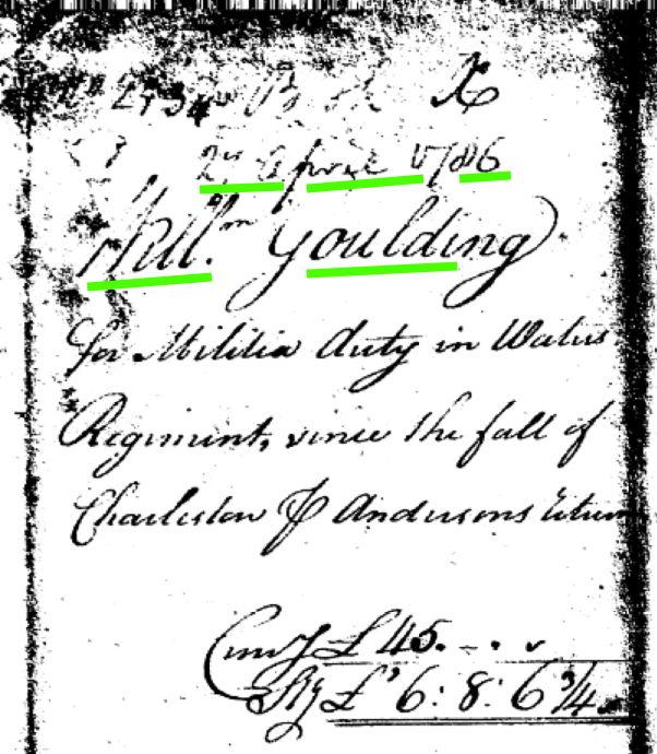 William Golden Goulding Militia Service South Carolina Revolutionary War