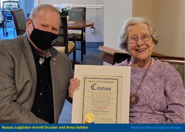 Anna Golden of Nassau County, New York with legislator Arnold W. Drucker (D - Plainview)